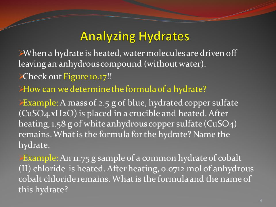 Lecture 59 Formulas of Hydrates Ozgur Unal 1.  What is the ...