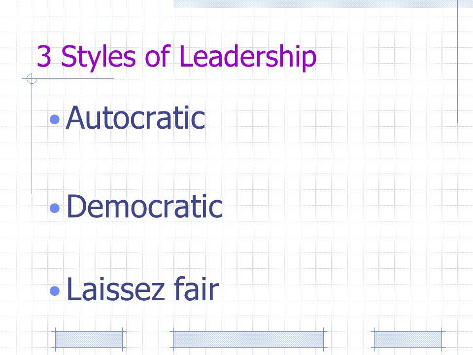 3 Styles of Leadership Autocratic Democratic Laissez fair