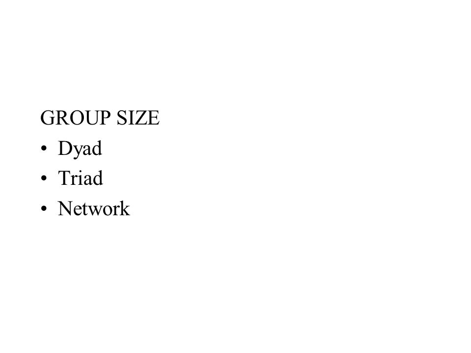 GROUP SIZE Dyad Triad Network