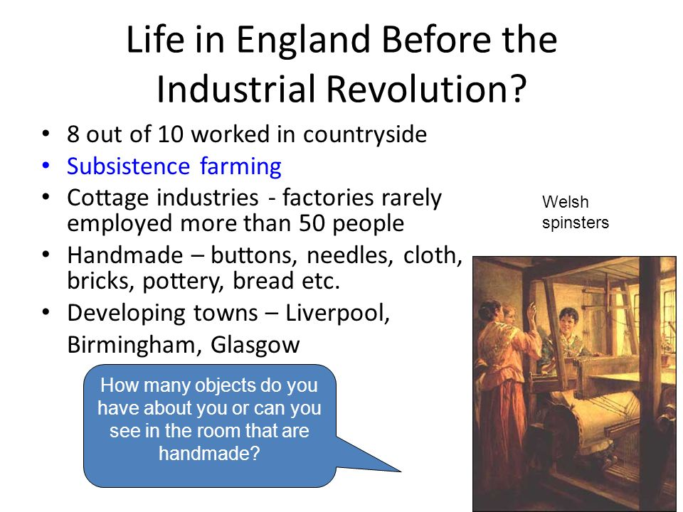 why did the industrial revolution start The industrial revolution began in england because by the end of the 19th century, britain was one of the most powerful countries in the world and had a head start in technology and commerce.