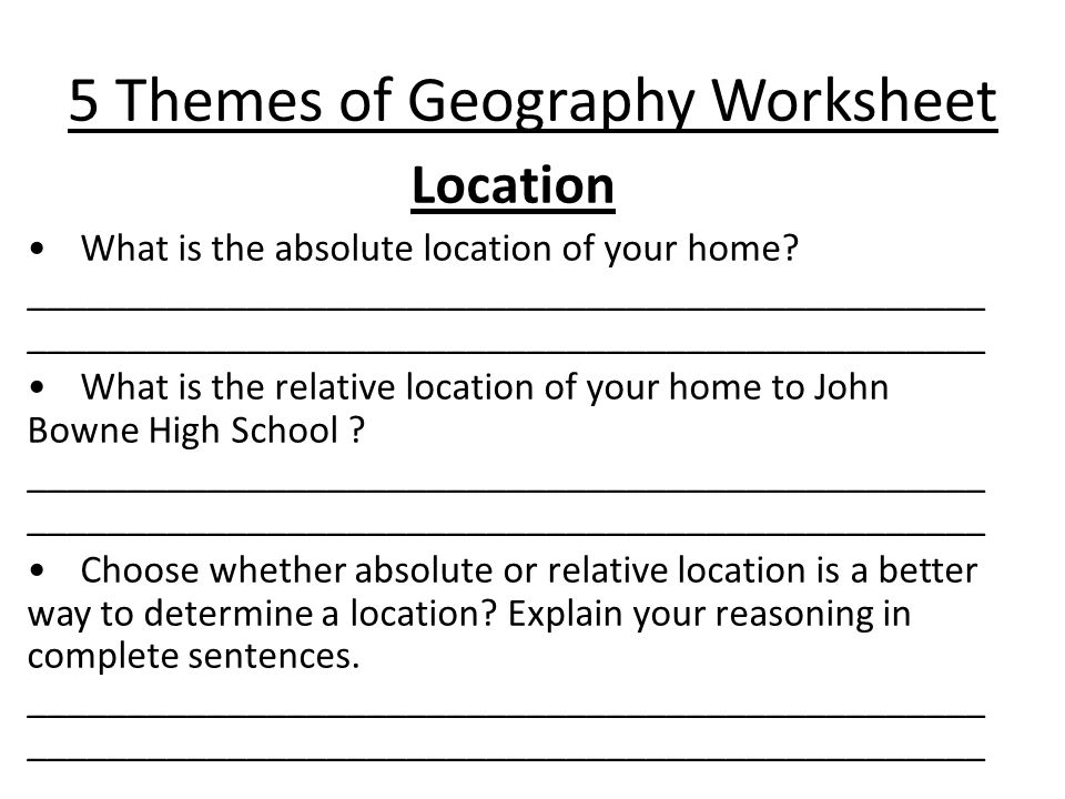 Aim Why is Geography a key in understanding Global History Do – 5 Themes of Geography Worksheets