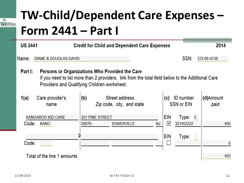 Child care tax credit worksheet 2014