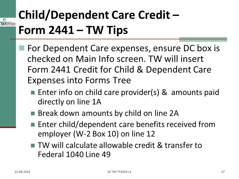 Child & Dependent Care Credit Pub 17 Chapters 3 & 32 Pub 4012 Tab ...