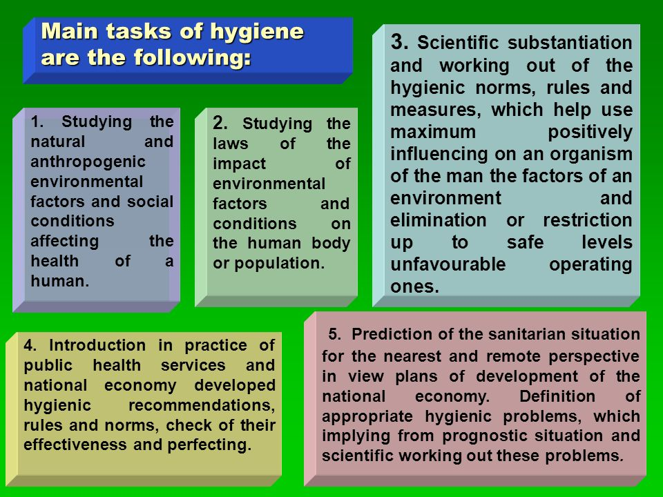 Main tasks of hygiene are the following: 4.