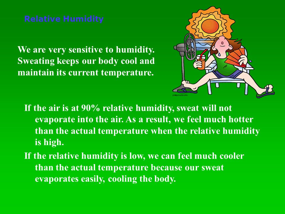 If the air is at 90% relative humidity, sweat will not evaporate into the air.