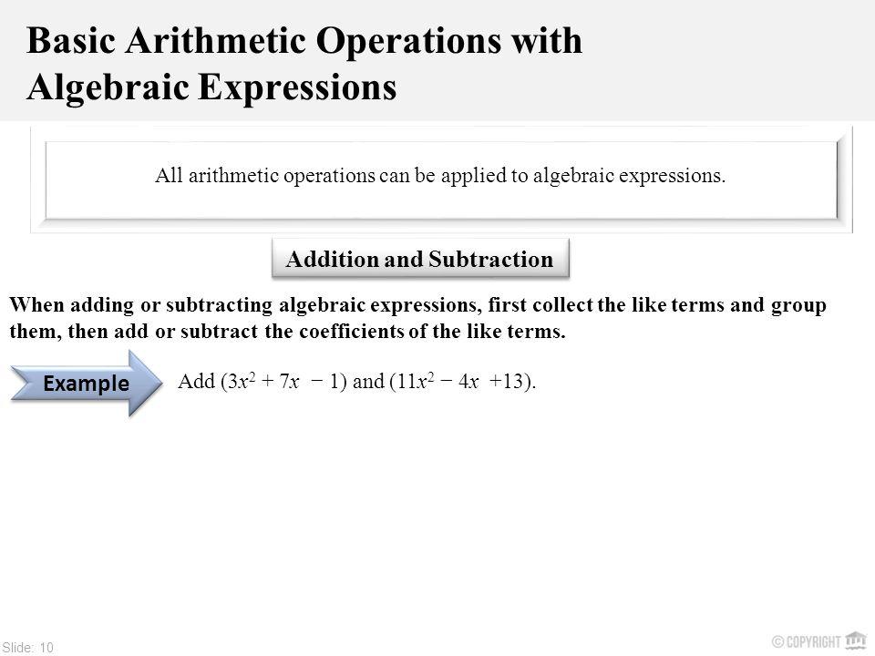 Slide: ALGEBRAIC EXPRESSIONS. Slide: 2 Algebra is a branch of ...