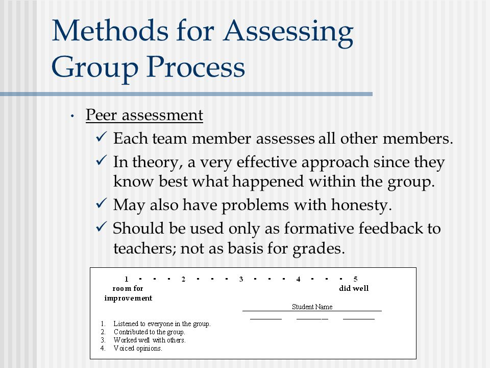 Methods for Assessing Group Process Peer assessment Each team member assesses all other members. In theory, a very effective approach since they know