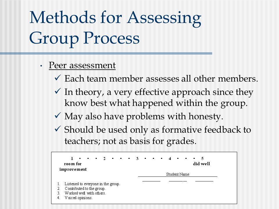 Methods for Assessing Group Process Peer assessment Each team member assesses all other members.