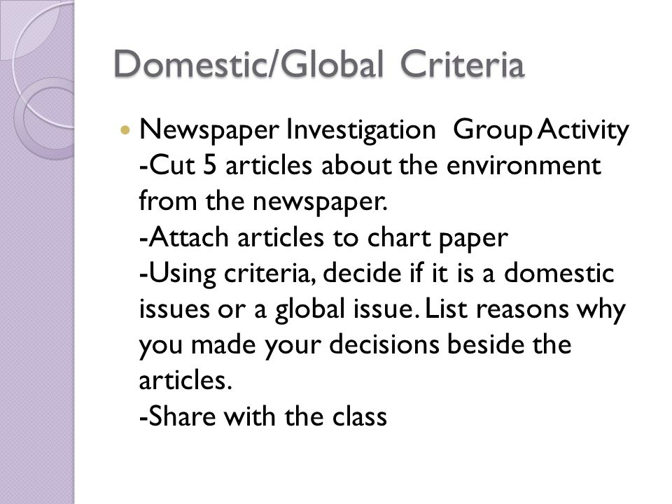 For every action there is a reaction environment and the global domesticglobal criteria newspaper investigation group activity cut 5 articles about the environment from sciox Gallery