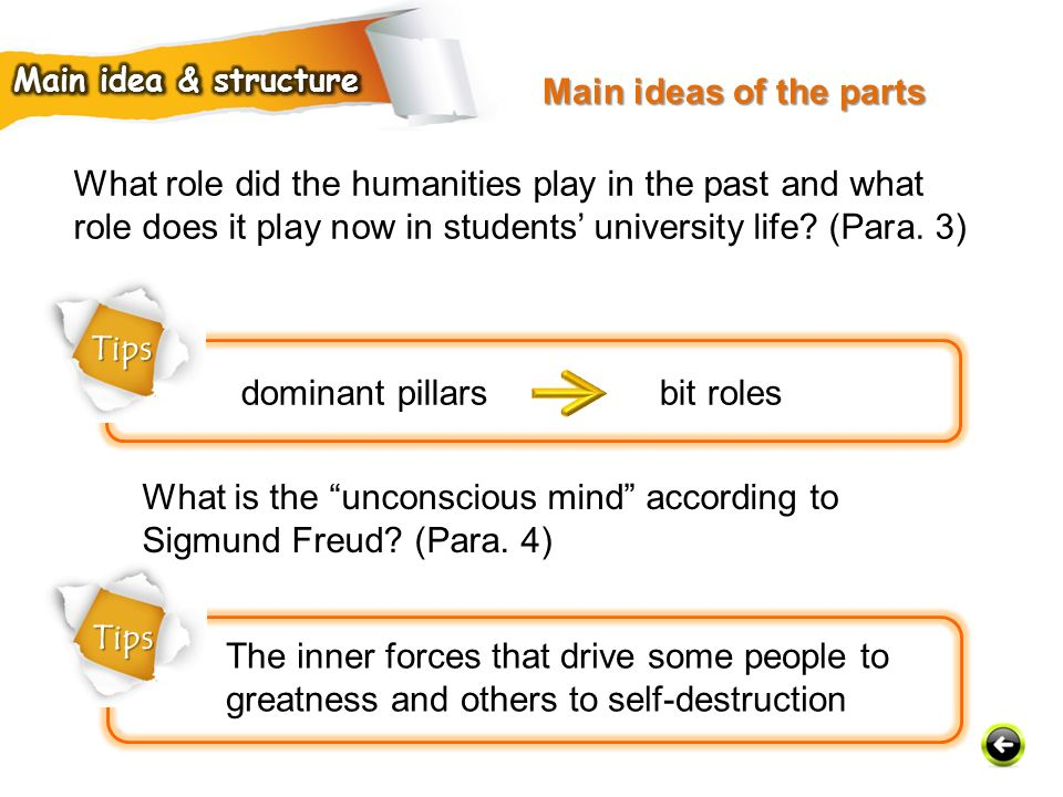 Tips dominant pillars bit roles What role did the humanities play in the past and what role does it play now in students' university life.