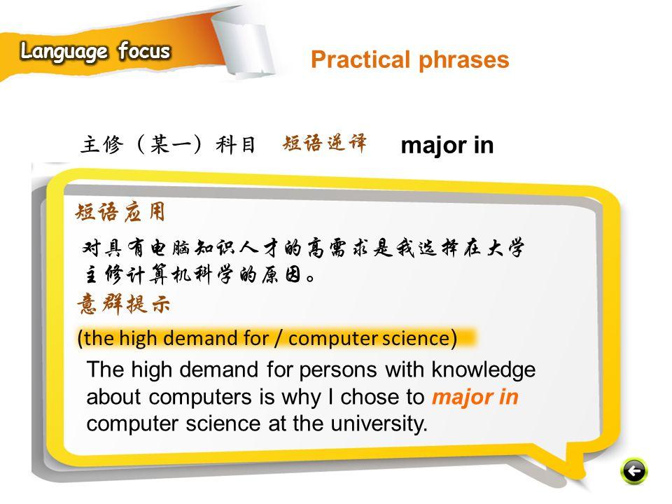 主修(某一)科目 (the high demand for / computer science ) The high demand for persons with knowledge about computers is why I chose to major in computer science at the university.