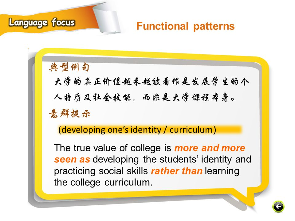 (developing one's identity / curriculum ) 典型例句 大学的真正价值越来越被看作是发展学生的个 人特质及社会技能,而非是大学课程本身。 意群提示 The true value of college is more and more seen as developing the students' identity and practicing social skills rather than learning the college curriculum.