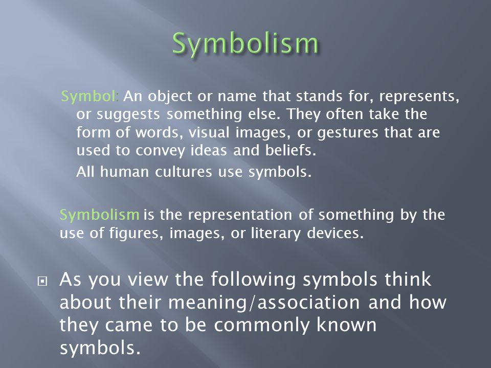 Warm Up What Does The Word Symbol Mean What Are A Few 3 4