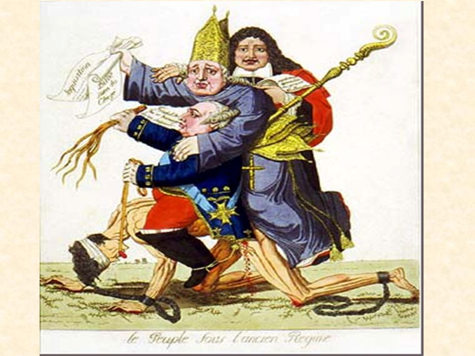 2 people under the old regime this image shows the people as a chained and blindfolded man being crushed under the weight of the rich including both