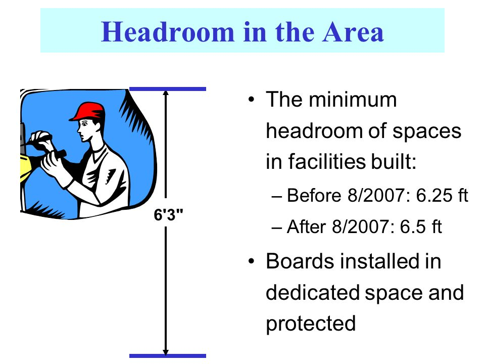 Headroom in the Area The minimum headroom of spaces in facilities built: –Before 8/2007: 6.25 ft –After 8/2007: 6.5 ft Boards installed in dedicated space and protected 6 3