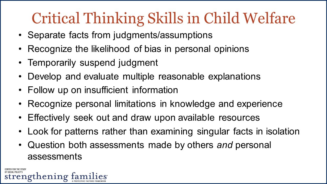 critical thinking skills in social work