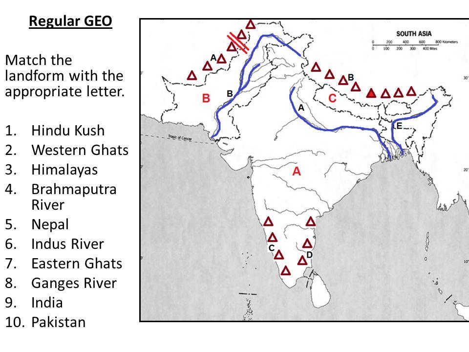 South Asia Map Quiz Regular Classes Number Your Paper Pre - Pakistan map quiz
