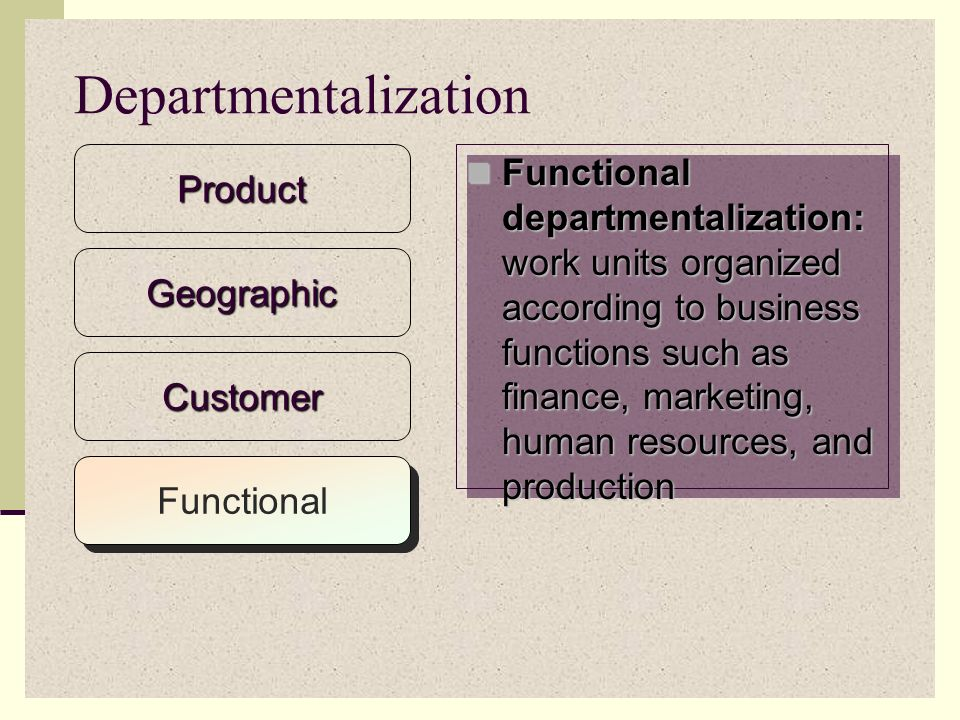 Customer departmentalization: organization that offers a variety of goods and services targeted to different types of customers might structure itself based on customers served Customer departmentalization: organization that offers a variety of goods and services targeted to different types of customers might structure itself based on customers servedProduct Departmentalization Geographic Customer