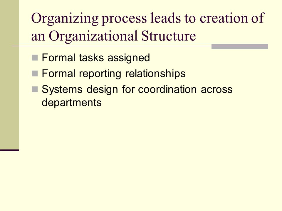 The process of organizing takes place within a structure reflected by the way in which the organization Divides its labor into departments and jobs Establishes formal lines of authority Establishes mechanisms for coordinating diverse tasks