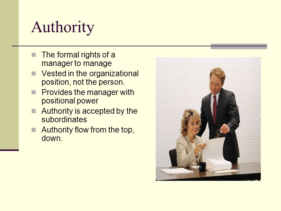 Chain of Command An unbroken line of authority Unity of Command-Everyone has only one supervisor Scalar Principle-Everyone has at least one boss.