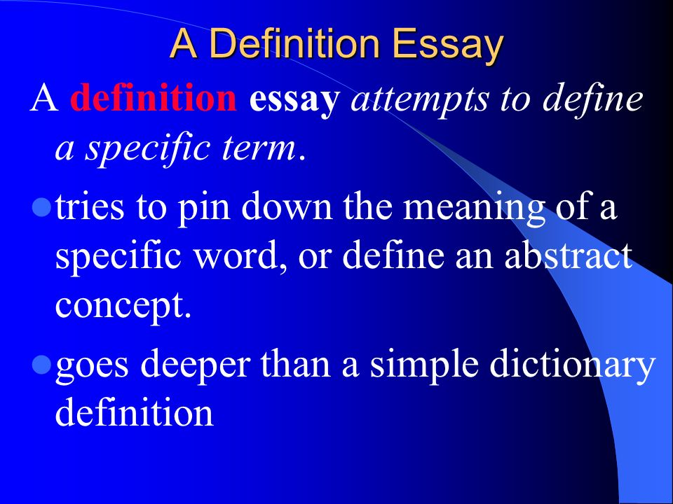 Example Of Definition Essay
