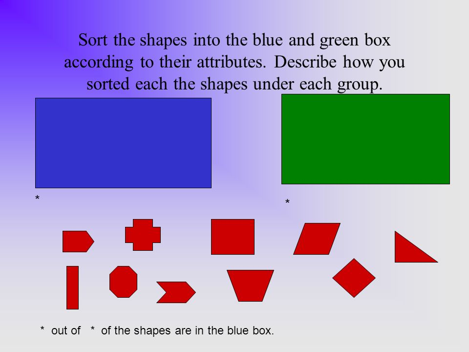 Sort the shapes into the blue and green box according to their attributes.