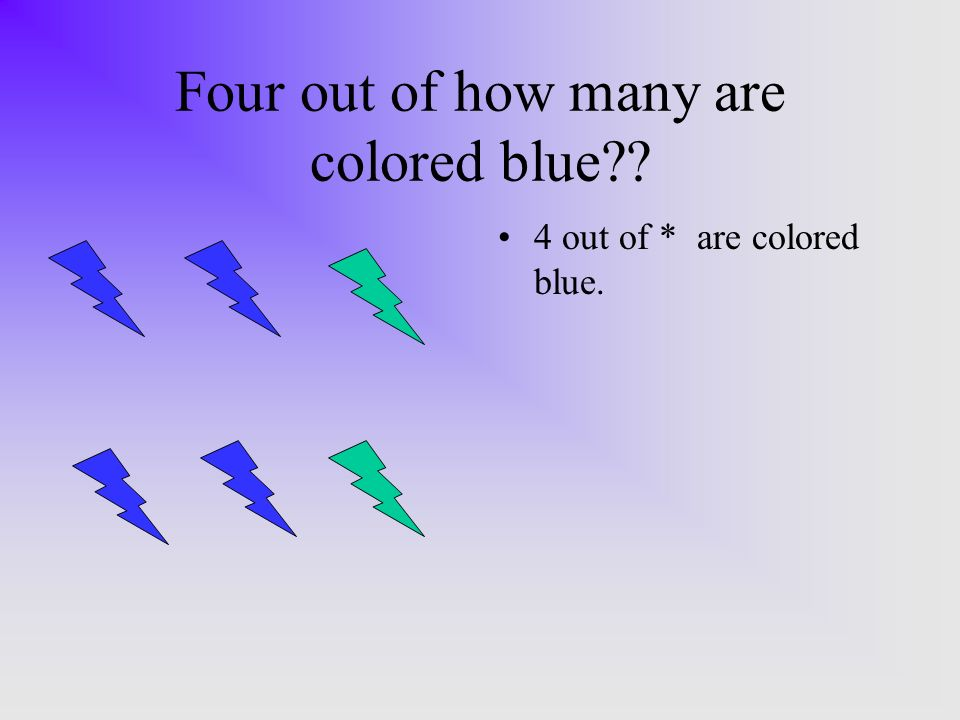 Four out of how many are colored blue 4 out of * are colored blue.