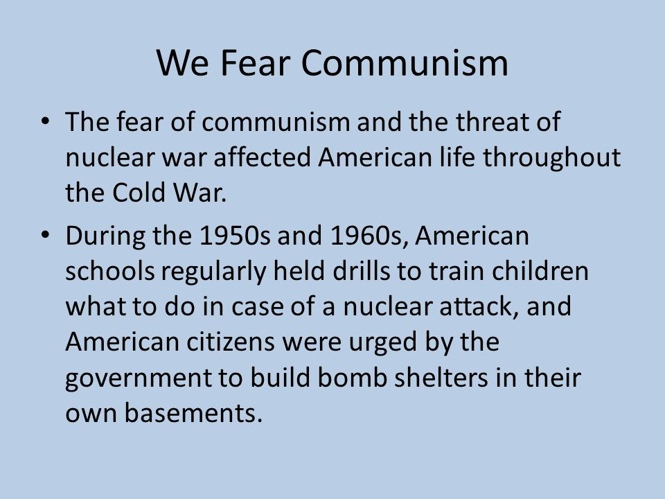 a history of the threat of communism during the cold war era The real threats to american citizens during the cold war victory in america during the history of the cold war vs communism during the cold war.
