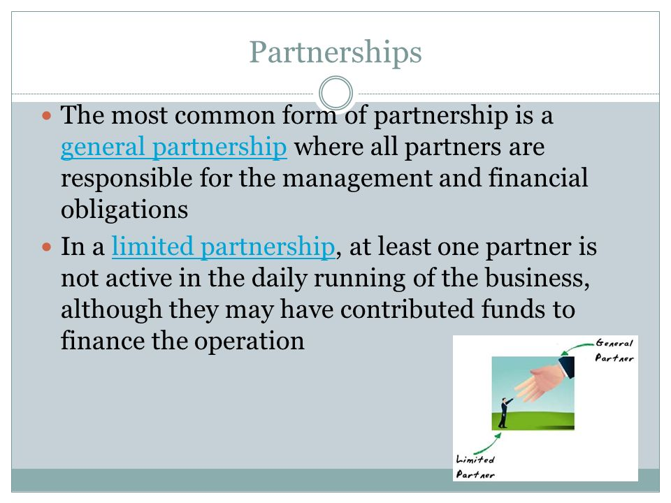 22.1 Types of Businesses. Proprietorships A sole proprietorship ...