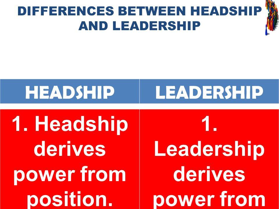 HEADSHIPLEADERSHIP 1. Headship derives power from position. 1. Leadership derives power from influence.
