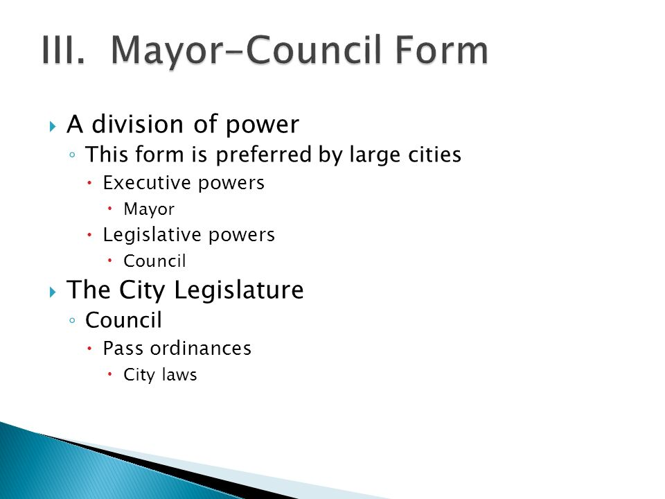 City Governments.  Most common form of local government ...
