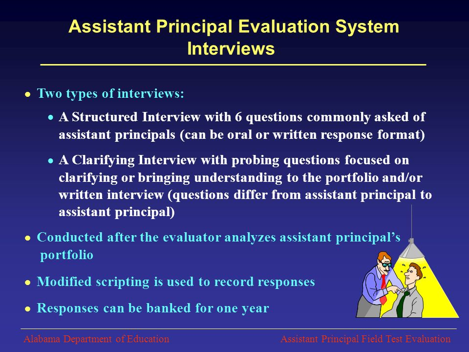 10  Two Types Of Interviews:  A Structured Interview With 6 Questions  Commonly Asked Of Assistant Principals ...  Assistant Principal Interview Questions