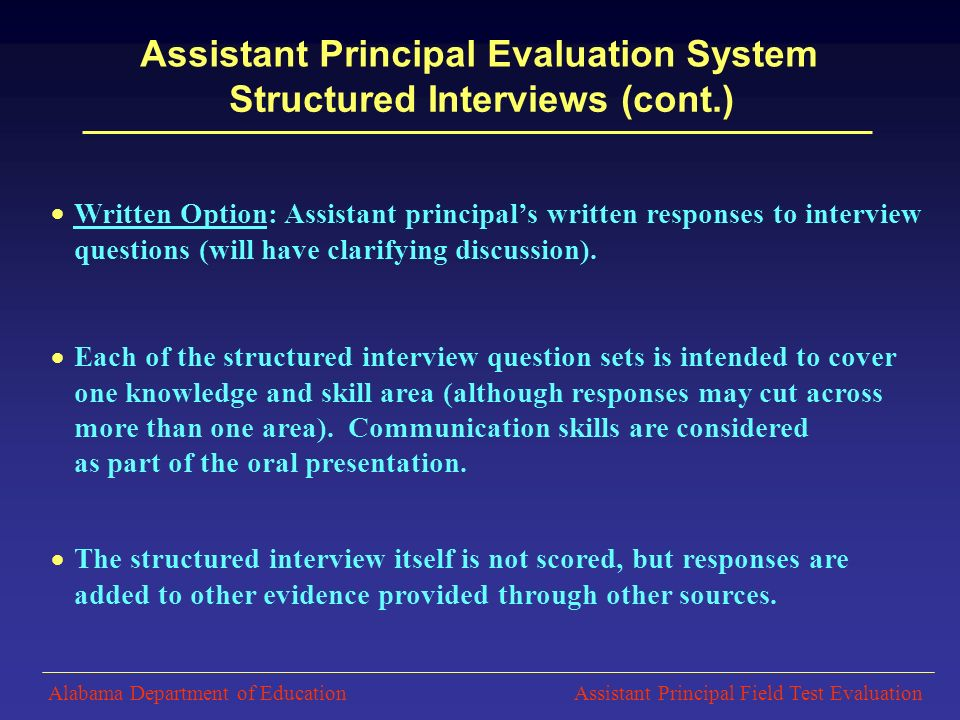 Each Of The Structured Interview Question Sets Is Intended To Cover One  Knowledge And Skill  Assistant Principal Interview Questions
