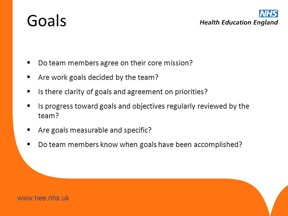 www.hee.nhs.uk Goals  Do team members agree on their core mission?  Are work goals decided by the team?  Is there clarity of goals and agreement on