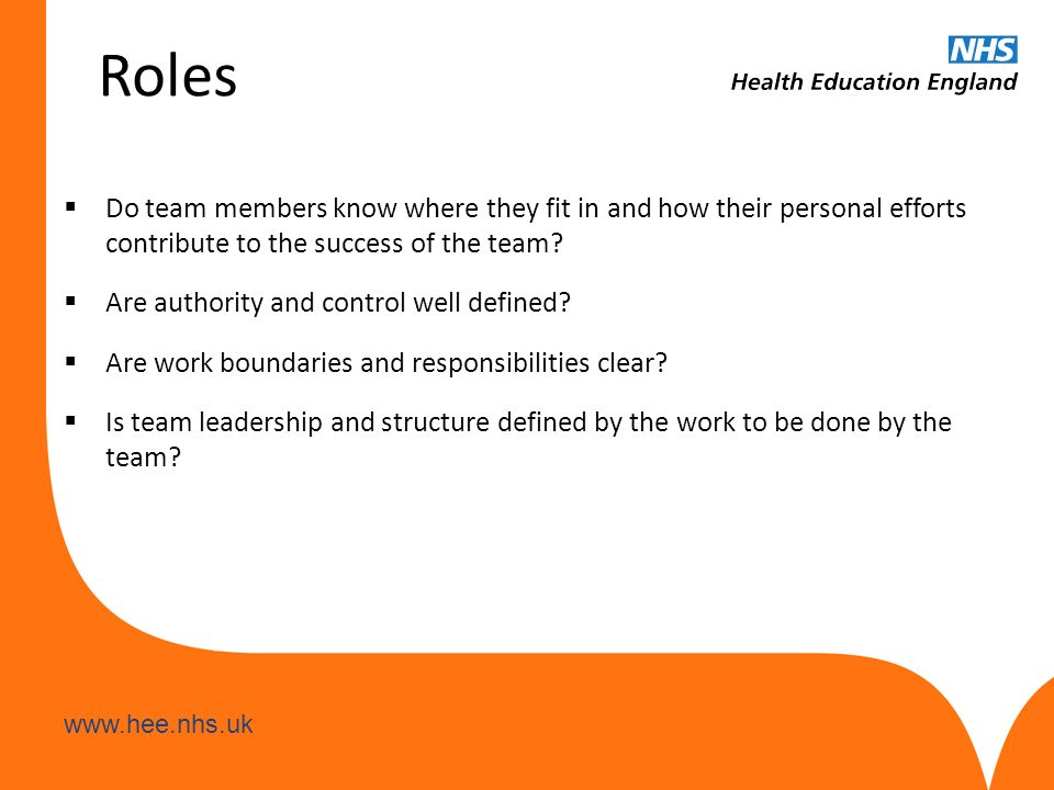 www.hee.nhs.uk Roles  Do team members know where they fit in and how their personal efforts contribute to the success of the team?  Are authority an