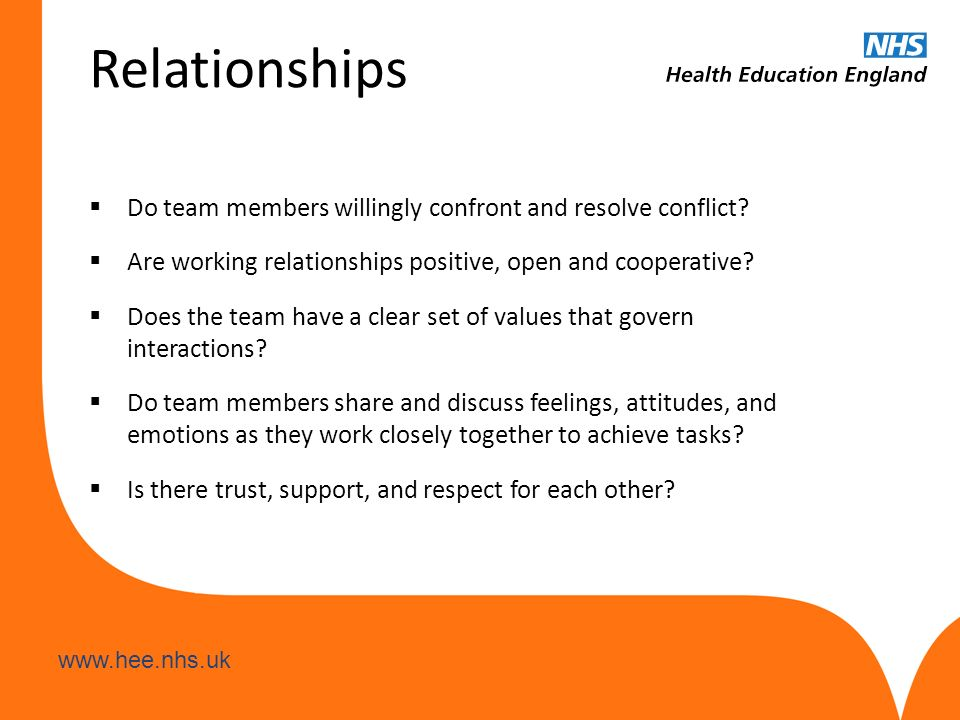 www.hee.nhs.uk Relationships  Do team members willingly confront and resolve conflict?  Are working relationships positive, open and cooperative? 