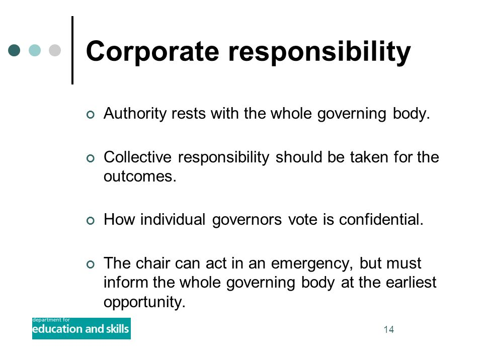 14 Corporate responsibility Authority rests with the whole governing body. Collective responsibility should be taken for the outcomes. How individual