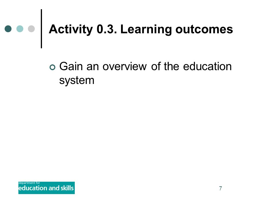 7 Activity 0.3. Learning outcomes Gain an overview of the education system