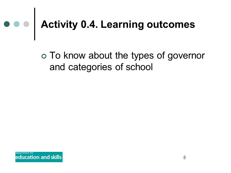 8 Activity 0.4. Learning outcomes To know about the types of governor and categories of school
