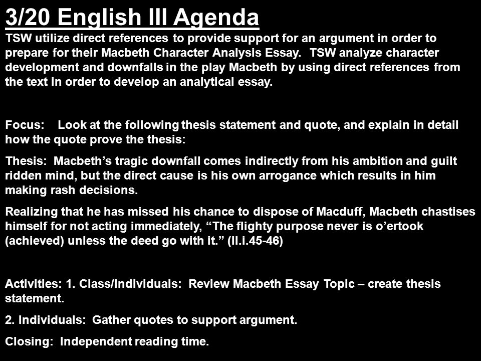 english iii agenda tsw utilize direct references to provide  3 3 20
