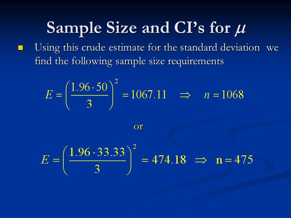 Sample size and cis for the population mean and the 7 sample ccuart Gallery