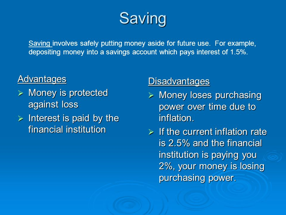 Finance savings and investing fact there are two kinds of money saving advantages money is protected against loss interest is paid by the financial institution sciox Gallery