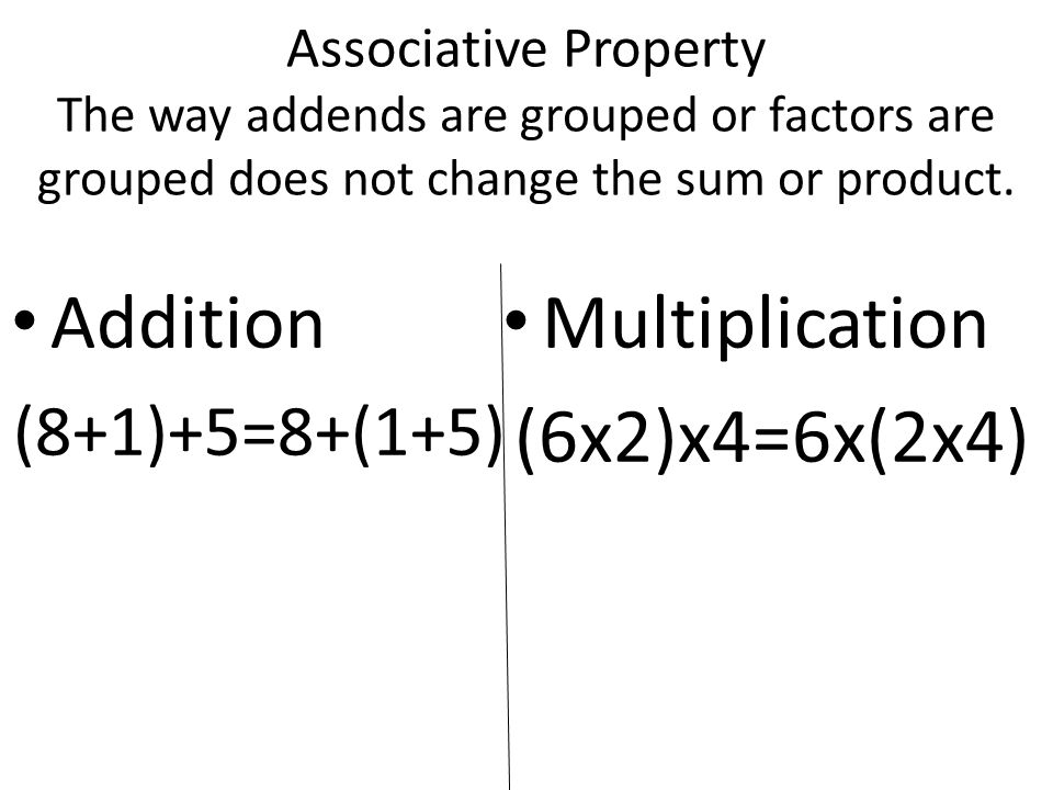 Commutative Property If the order of the addends or factors is changed, the sum or product stays the same.