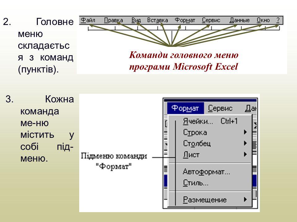 Робота з головним меню в програмних вікнах і вікнах папок Запустіть програму Microsoft Excel для відпрацювання навиків роботи з головним меню програм.