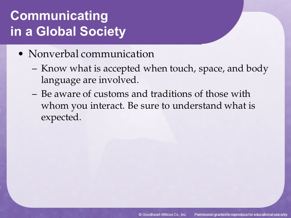 Permission granted to reproduce for educational use only.© Goodheart-Willcox Co., Inc. Nonverbal communication – Know what is accepted when touch, spa