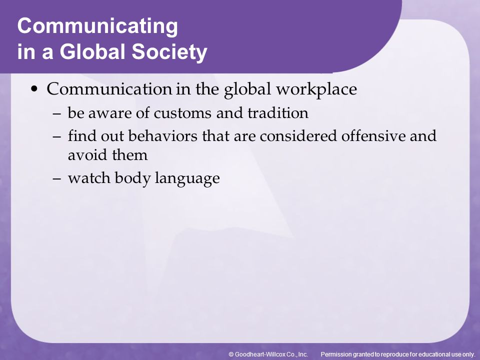 Permission granted to reproduce for educational use only.© Goodheart-Willcox Co., Inc. Communicating in a Global Society Communication in the global w