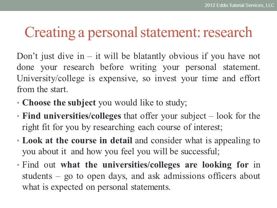 Personal Statement Of Research Interests
