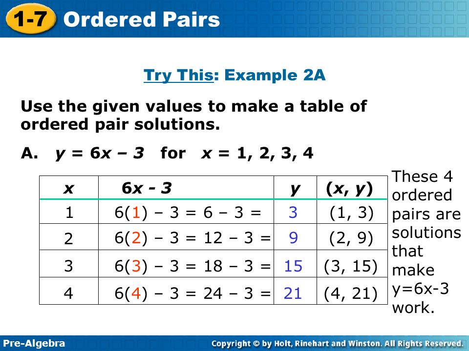 Pre-Algebra 1-7 Ordered Pairs Learn to write solutions of ...