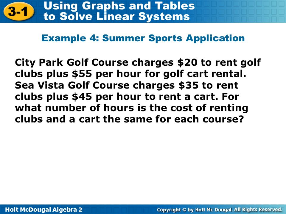 Holt McDougal Algebra Using Graphs and Tables to Solve Linear Systems City Park Golf Course charges $20 to rent golf clubs plus $55 per hour for golf cart rental.