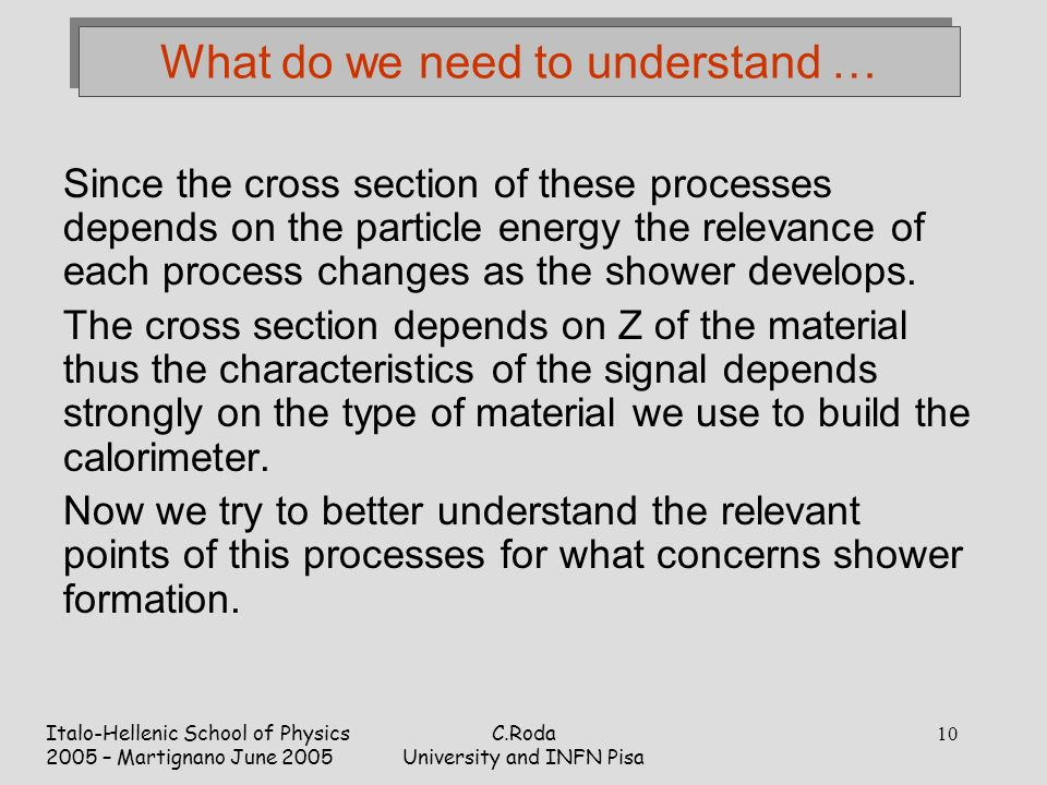Italo-Hellenic School of Physics 2005 – Martignano June 2005 C.Roda University and INFN Pisa 10 What do we need to understand … Since the cross section of these processes depends on the particle energy the relevance of each process changes as the shower develops.